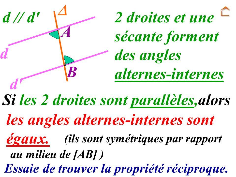 2 droites et une sécante forment des angles alternes-internes A d B d
