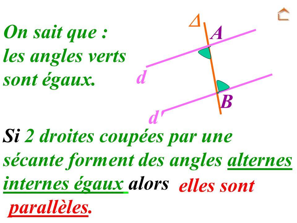  A. B. d. d On sait que : les angles verts. sont égaux.