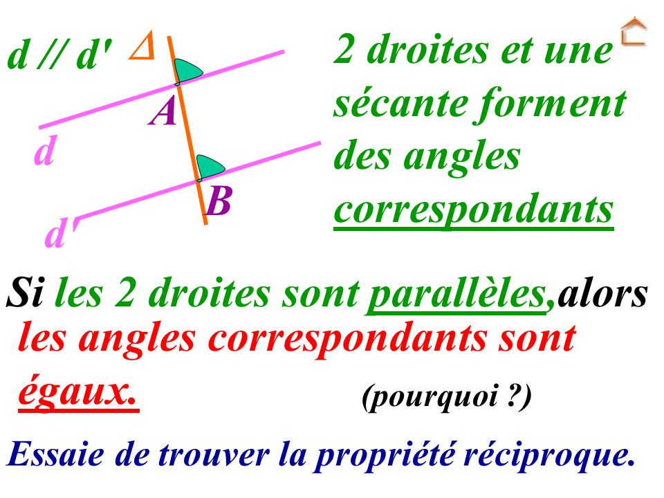 2 droites et une sécante forment des angles correspondants d // d