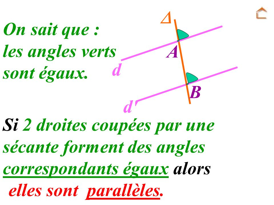  A. B. d. d On sait que : les angles verts. sont égaux. Si 2 droites coupées par une sécante forment des angles correspondants égaux alors.