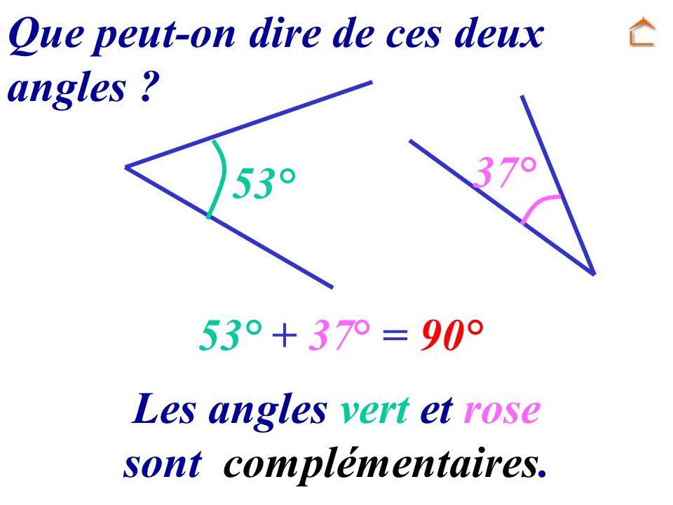 Les angles vert et rose sont complémentaires.