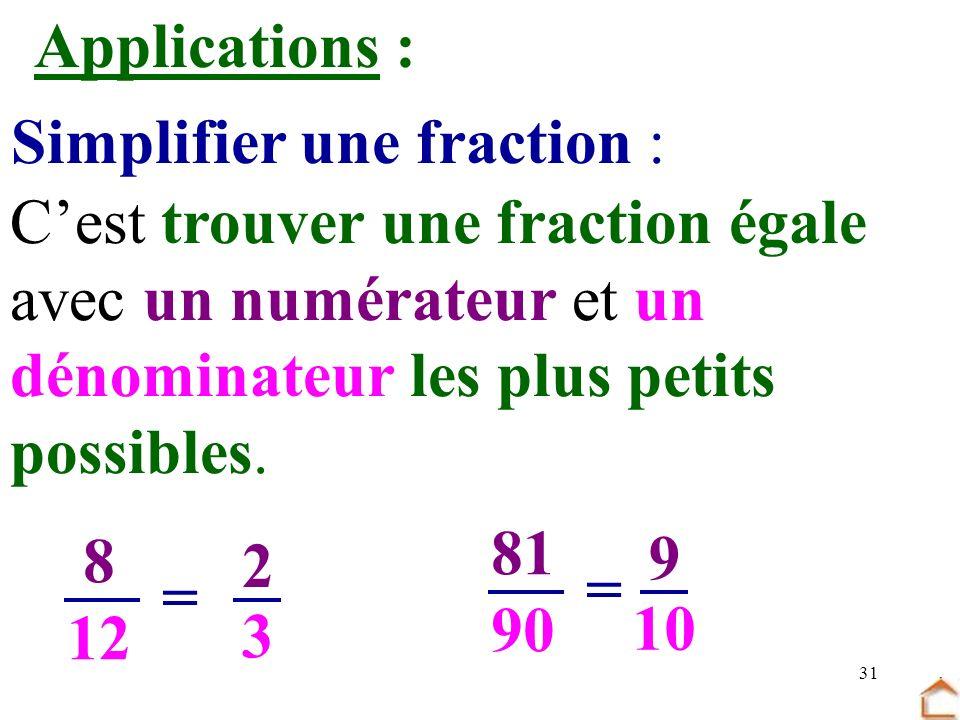 Simplifier une fraction :