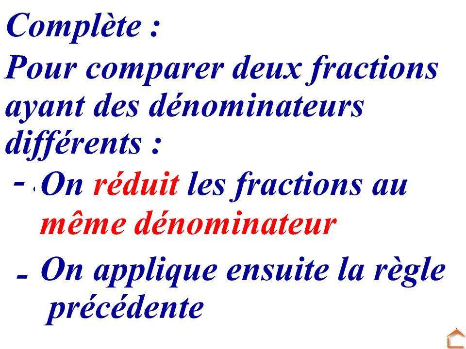 Complète : Pour comparer deux fractions. ayant des dénominateurs. différents : - ............................................