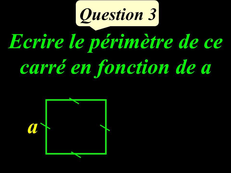 Ecrire le périmètre de ce carré en fonction de a