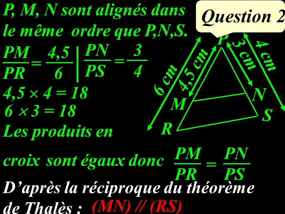 Question 2 N P, M, N sont alignés dans le même ordre que P,N,S. P R S
