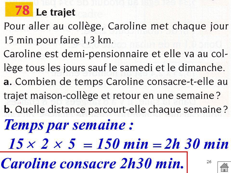 Caroline consacre 2h30 min.