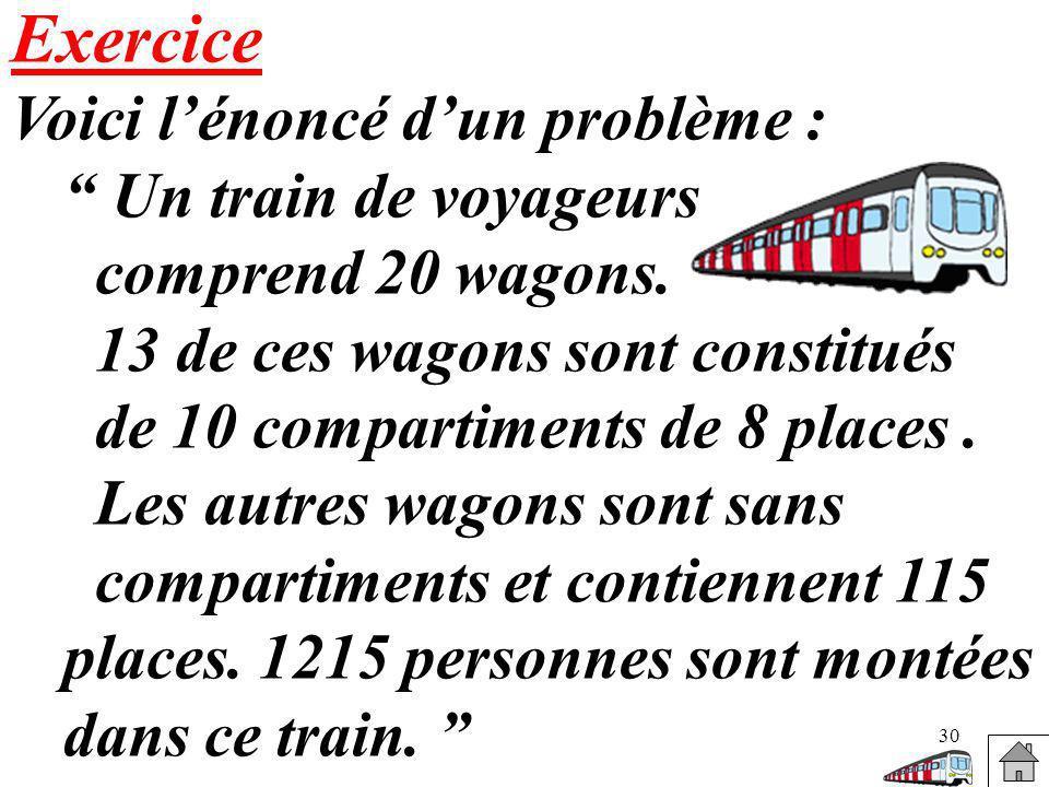 Exercice Voici l'énoncé d'un problème : Un train de voyageurs