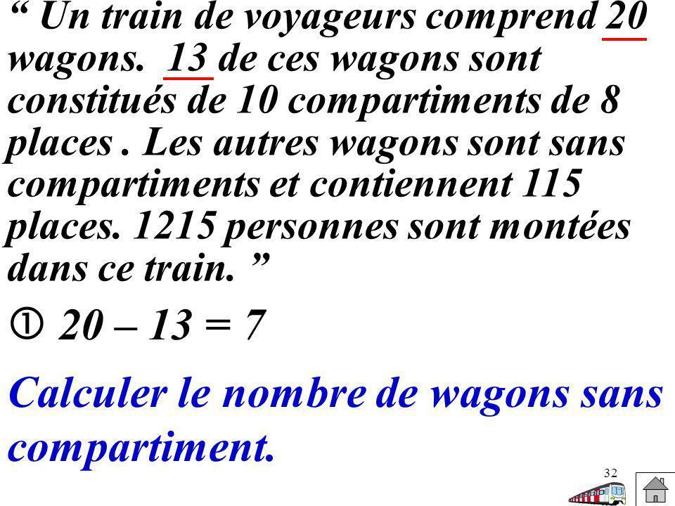 Calculer le nombre de wagons sans compartiment.