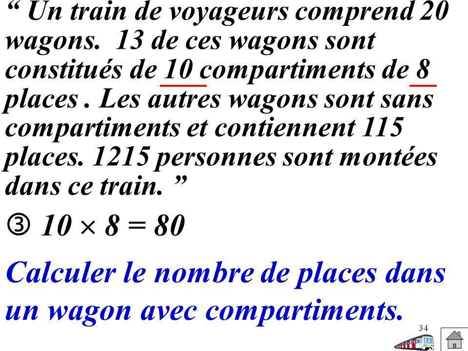 Calculer le nombre de places dans un wagon avec compartiments.