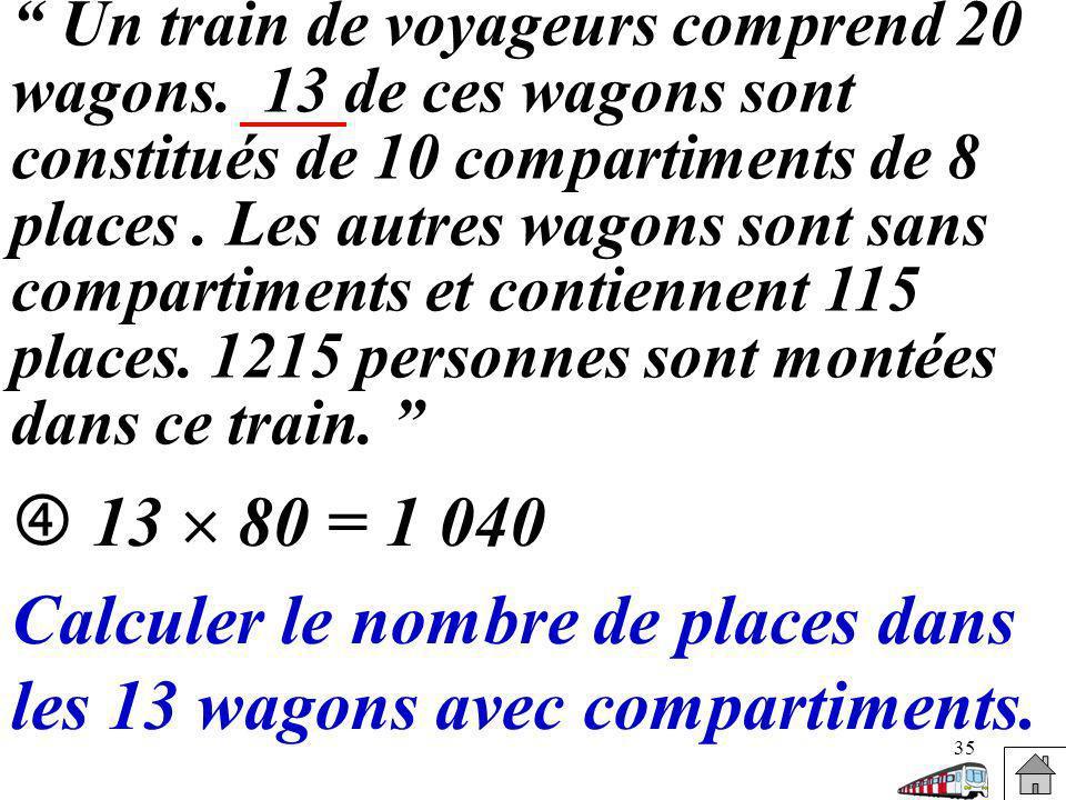 Calculer le nombre de places dans les 13 wagons avec compartiments.