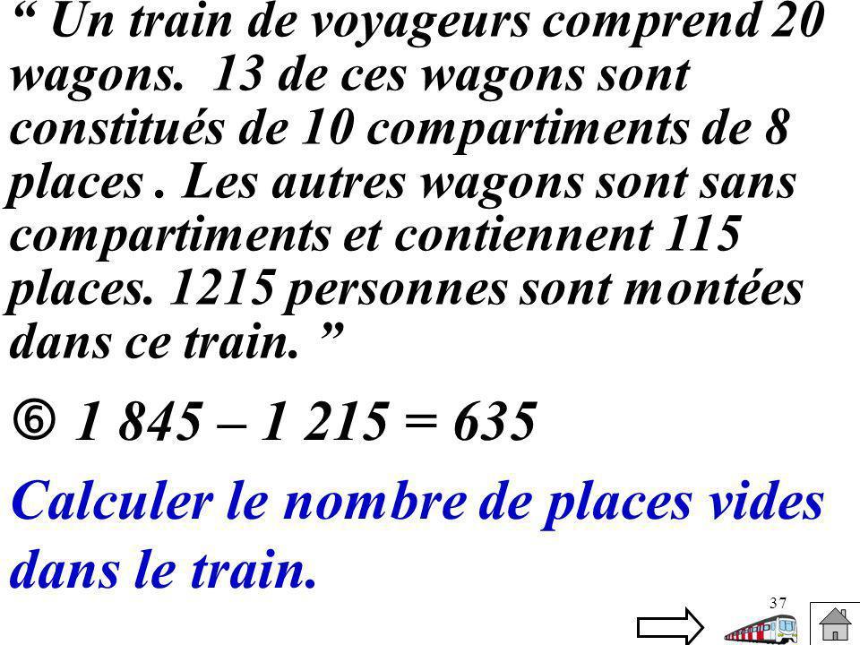 Calculer le nombre de places vides dans le train.