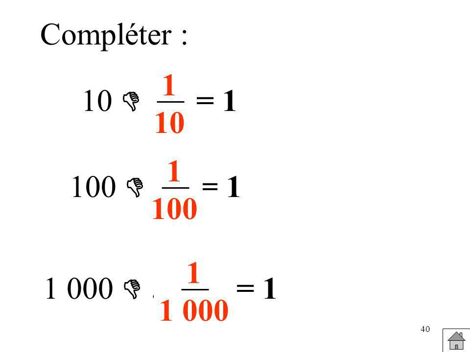 Compléter : 1 10 10  … = 1 1 100 100  … = 1 1 1 000 1 000  … = 1