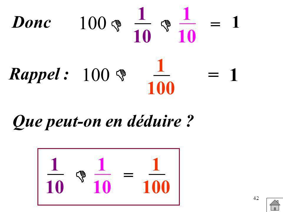 1 10 1 10 Donc 100 1   = 1 100 Rappel : 100  = 1 Que peut-on en déduire 1 10 1 10 1 100  =
