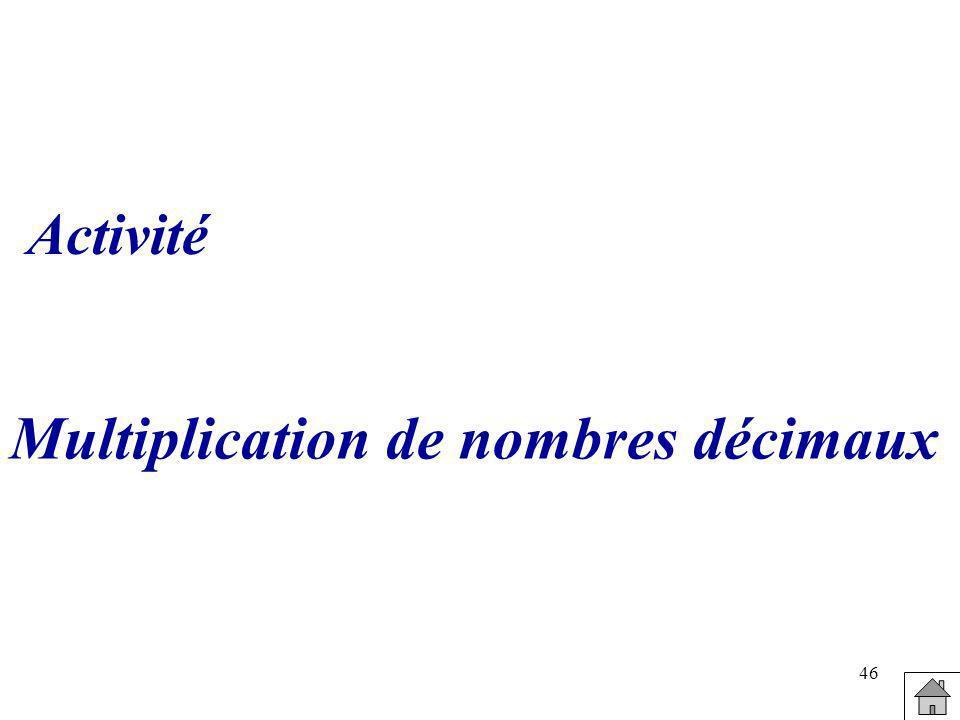 Multiplication de nombres décimaux