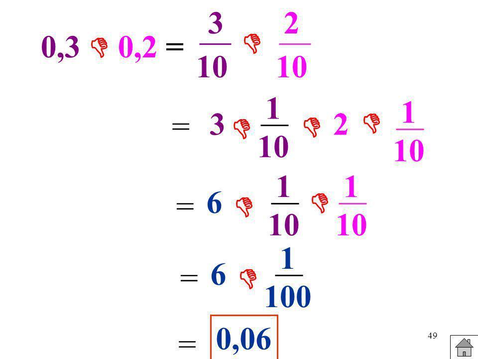 3 2  0,3  0,2 = 10 10 1 10 1 10 = 3  2   1 10 1 10 6  =  1 100 6 =  0,06 =