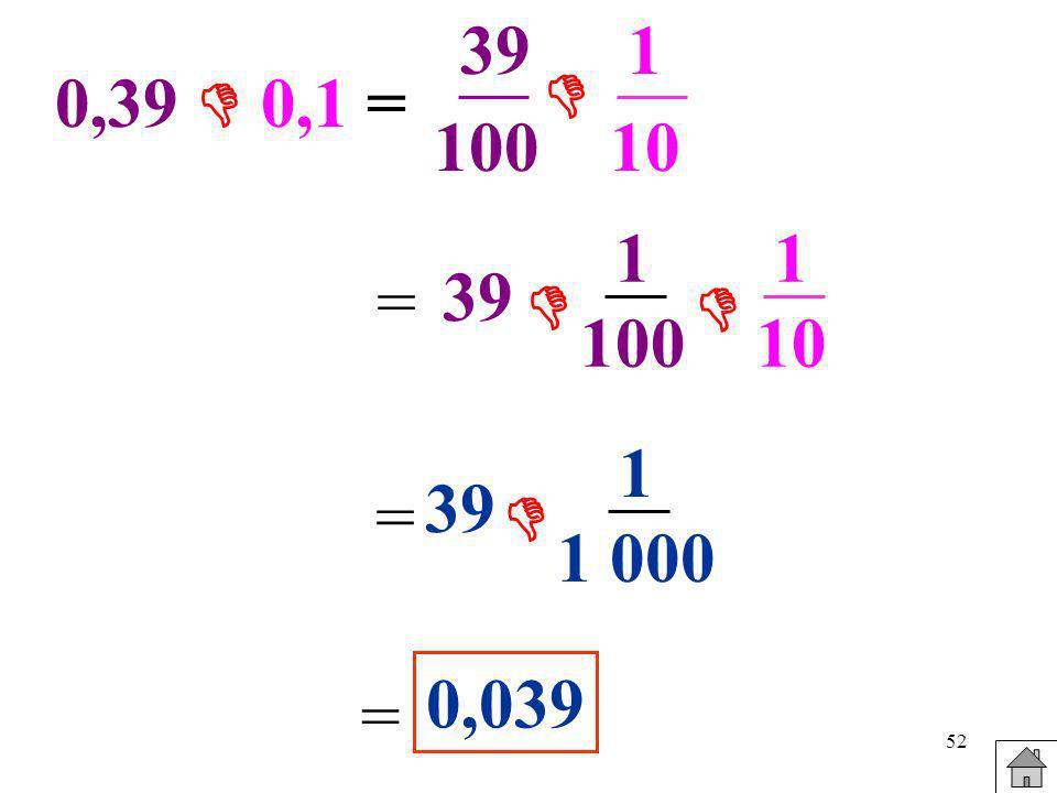 39 100 1 10  0,39  0,1 = 1 100 1 10 = 39   1 1 000 39 =  0,039 =