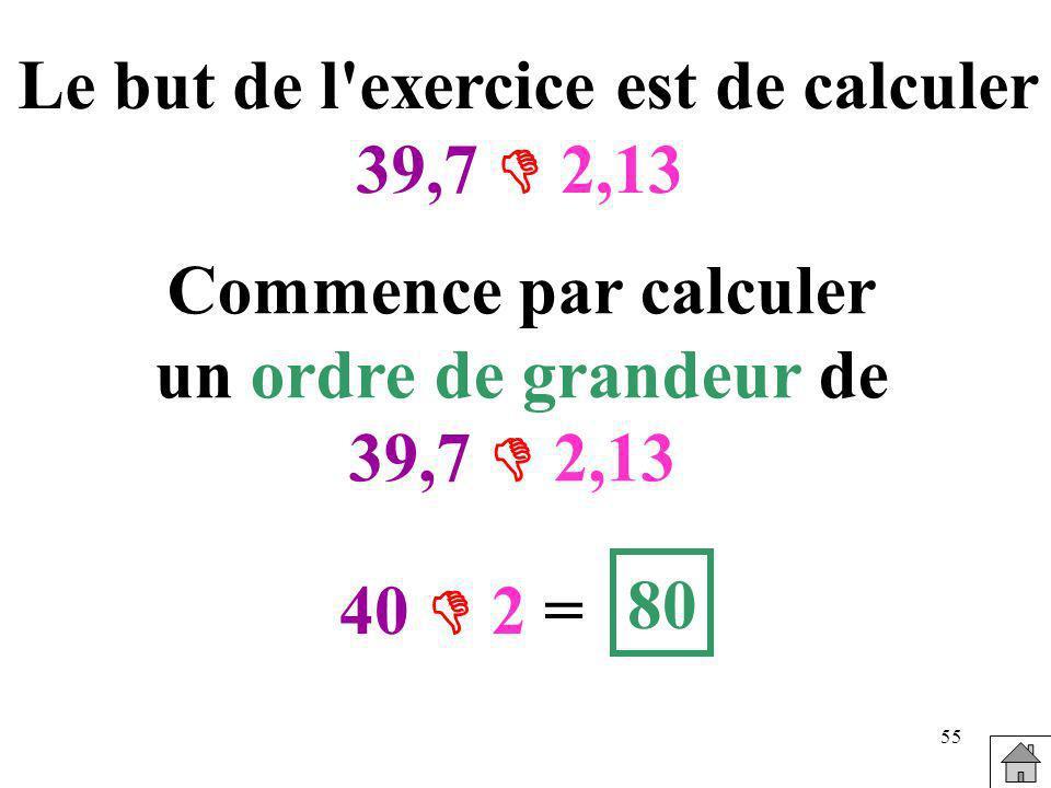 Le but de l exercice est de calculer
