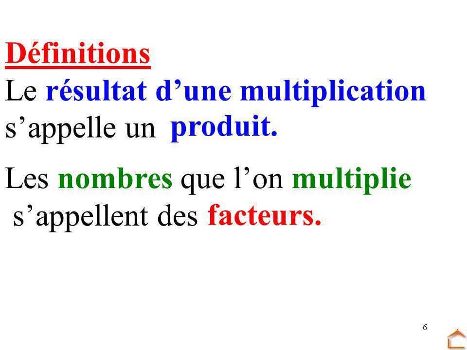 DéfinitionsLe résultat d'une multiplication. s'appelle un. produit. Les nombres que l'on multiplie.