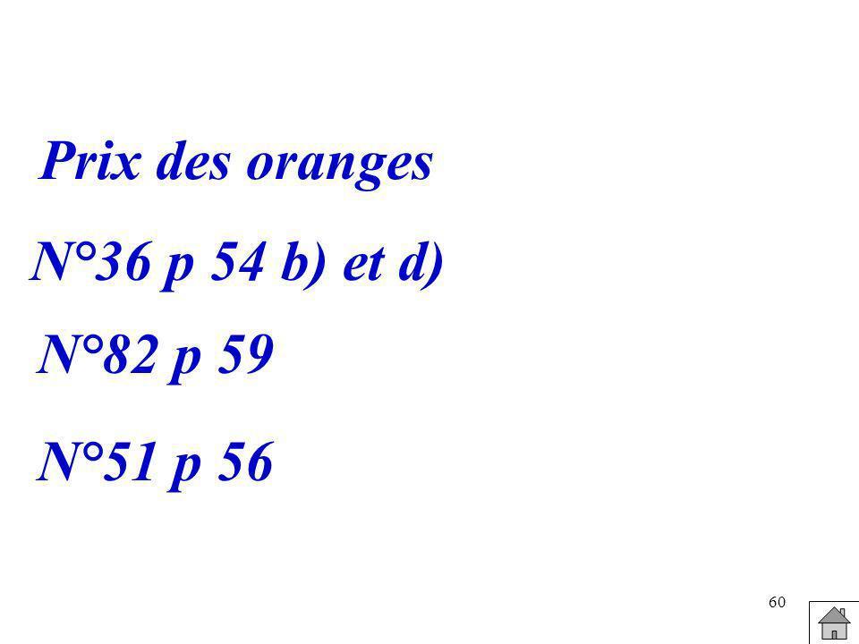 Prix des oranges N°36 p 54 b) et d) N°82 p 59 N°51 p 56
