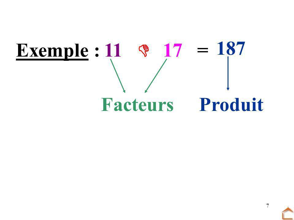 187 Exemple : 11  17 = Facteurs Produit