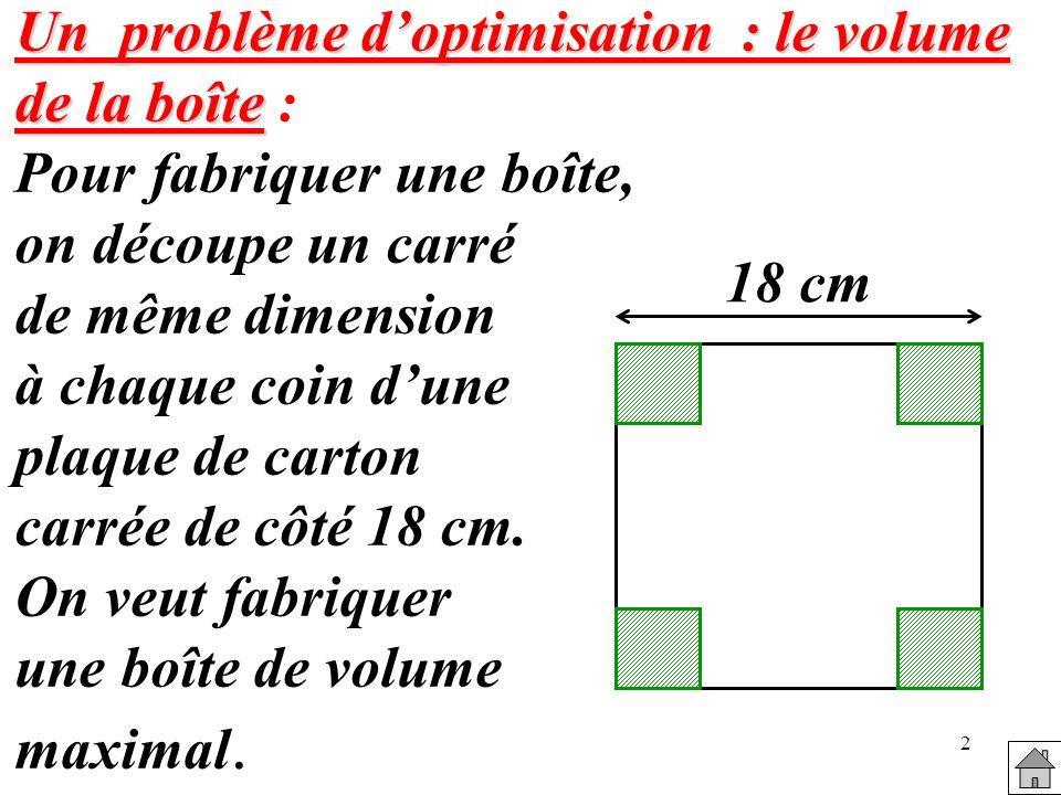 Un problème d'optimisation : le volume de la boîte :
