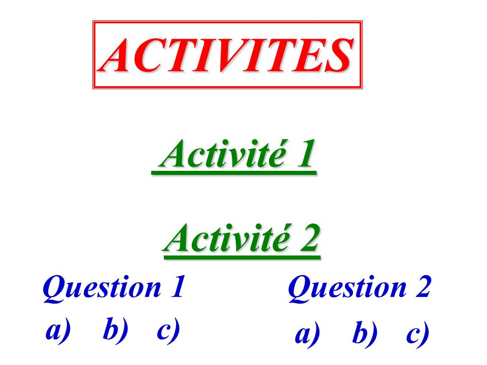 ACTIVITES Activité 1 Activité 2 Question 1 Question 2 a) b) c) a) b)
