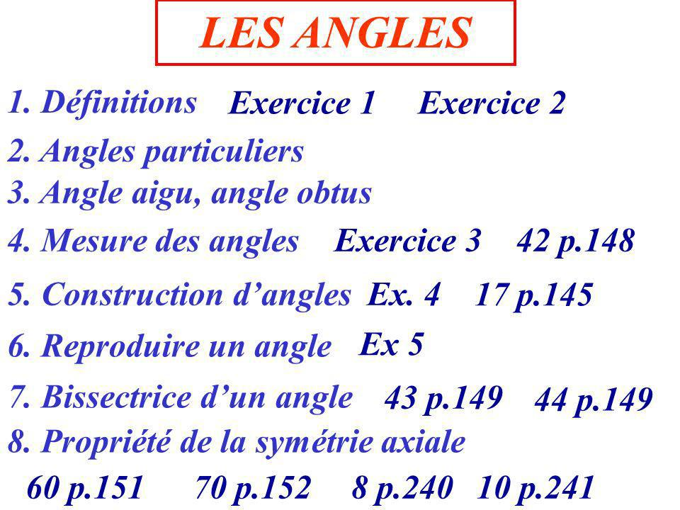 LES ANGLES 1. Définitions Exercice 1 Exercice 2 2. Angles particuliers