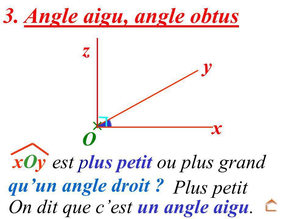 3. Angle aigu, angle obtus z y  x O
