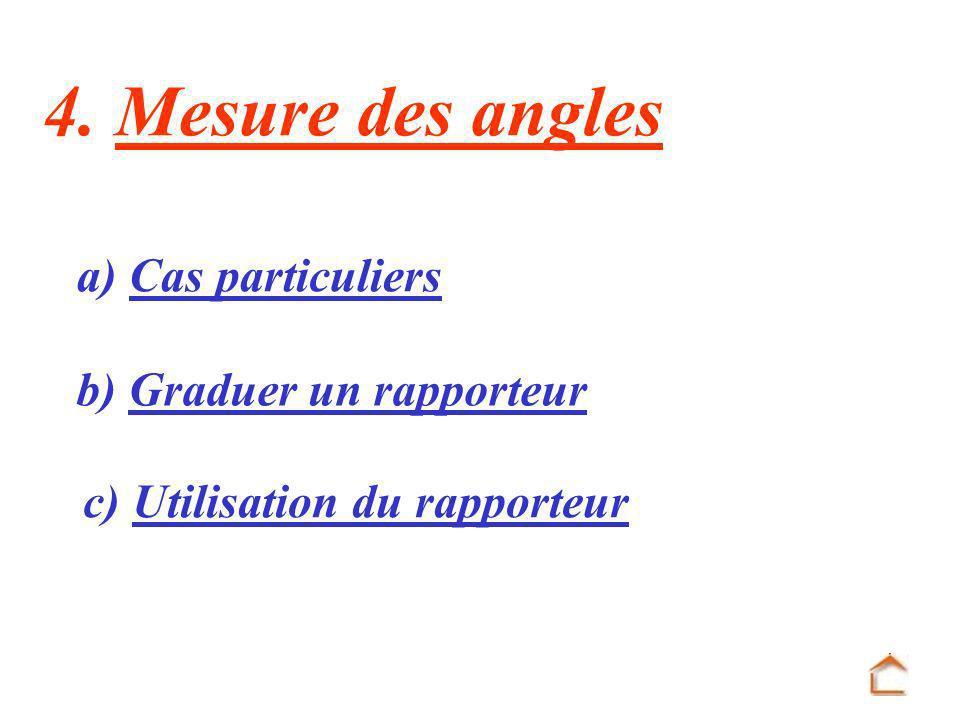 4. Mesure des angles a) Cas particuliers b) Graduer un rapporteur