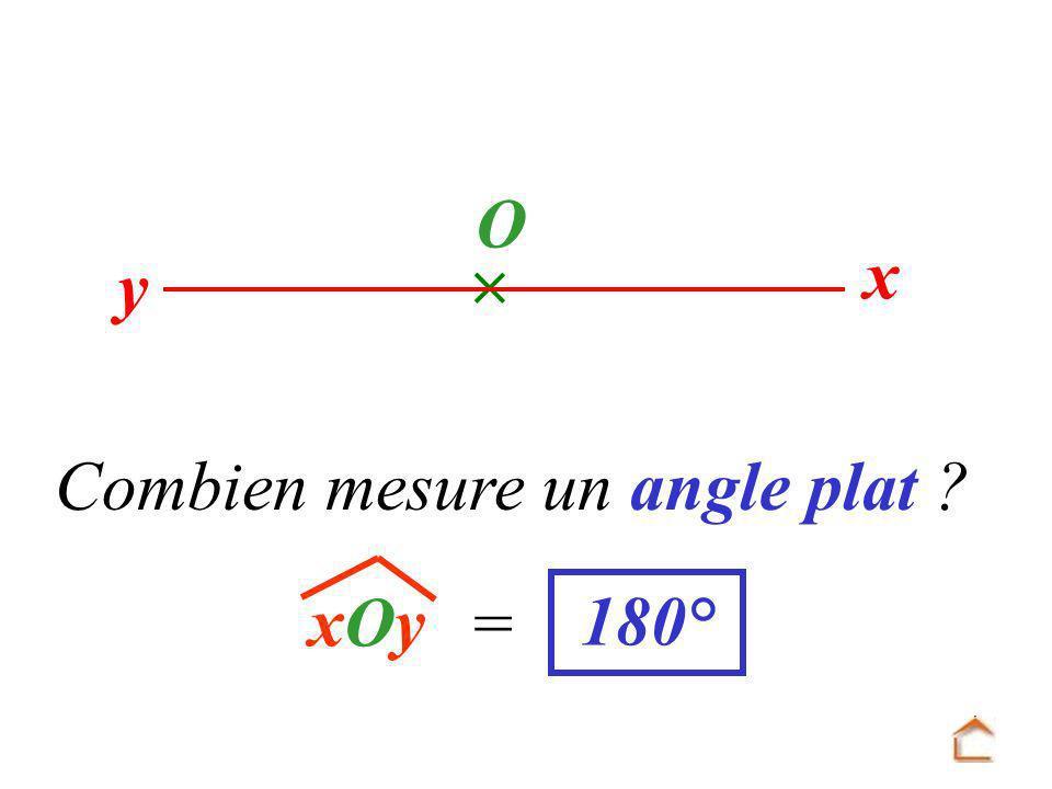  y x O Combien mesure un angle plat xOy = 180°
