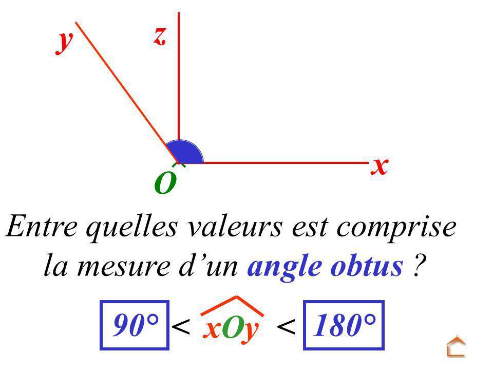 Entre quelles valeurs est comprise la mesure d'un angle obtus