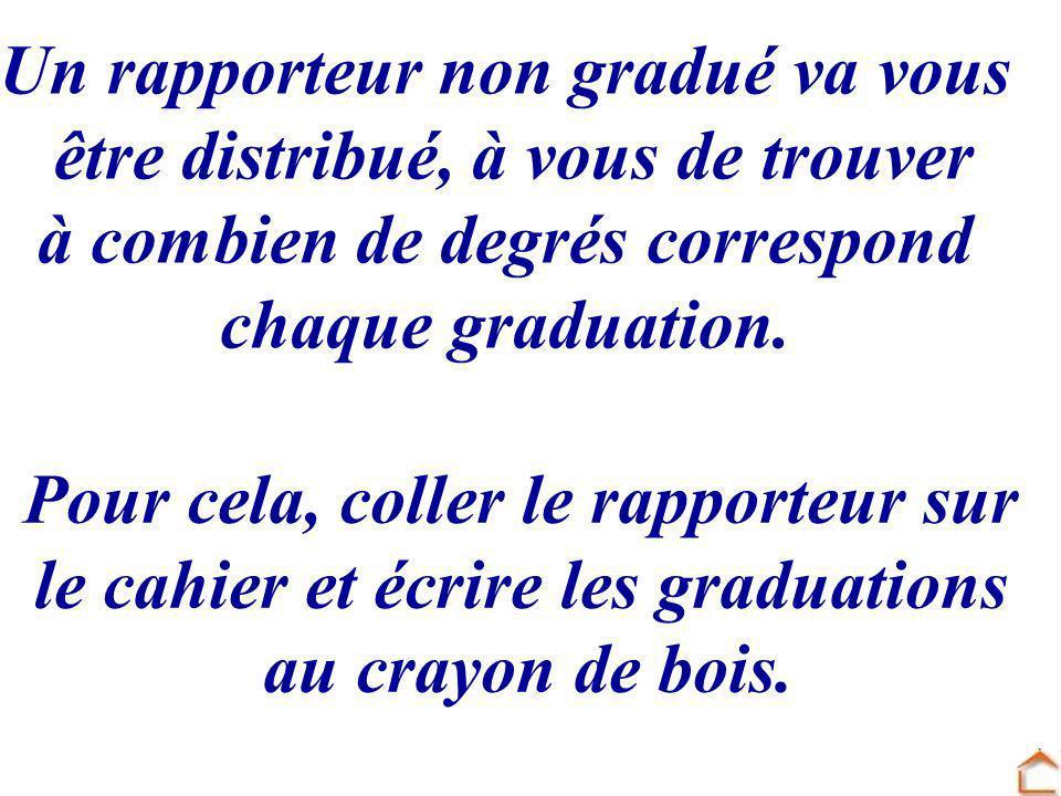 Un rapporteur non gradué va vous être distribué, à vous de trouver