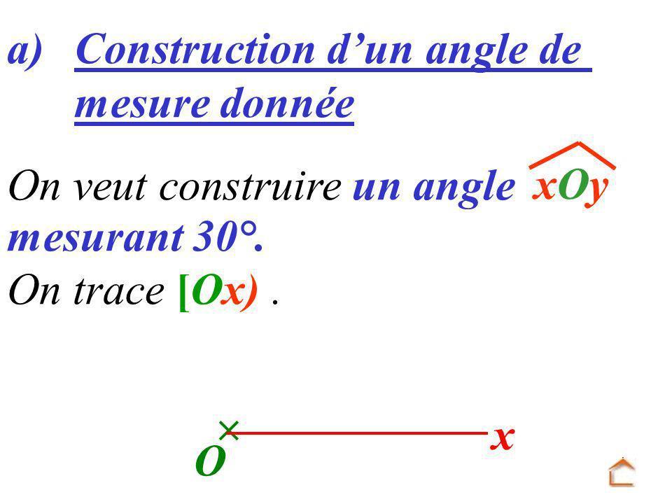 a) Construction d'un angle de