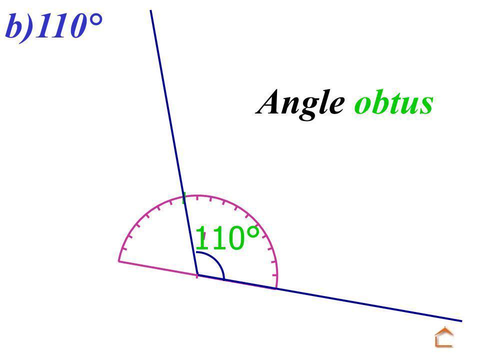 b)110° Angle obtus 110°