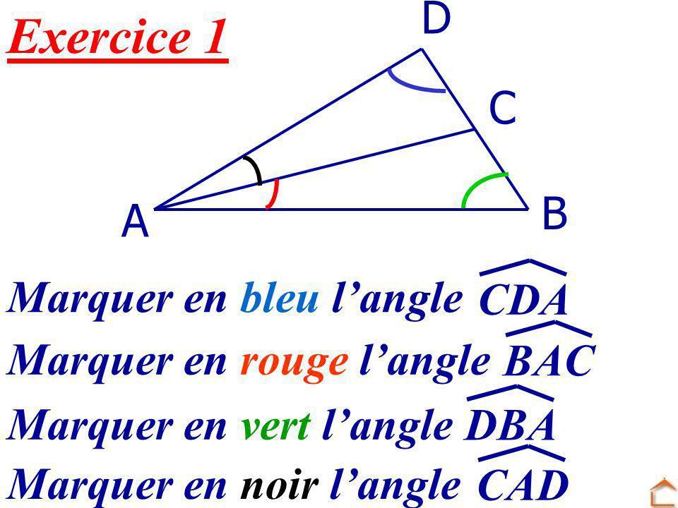 Exercice 1 D C B A Marquer en bleu l'angle CDA