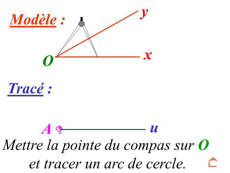 Mettre la pointe du compas sur O et tracer un arc de cercle.