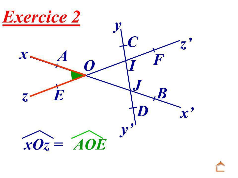 Exercice 2 x x' O E F B A z z' y' y C J I D xOz = AOE