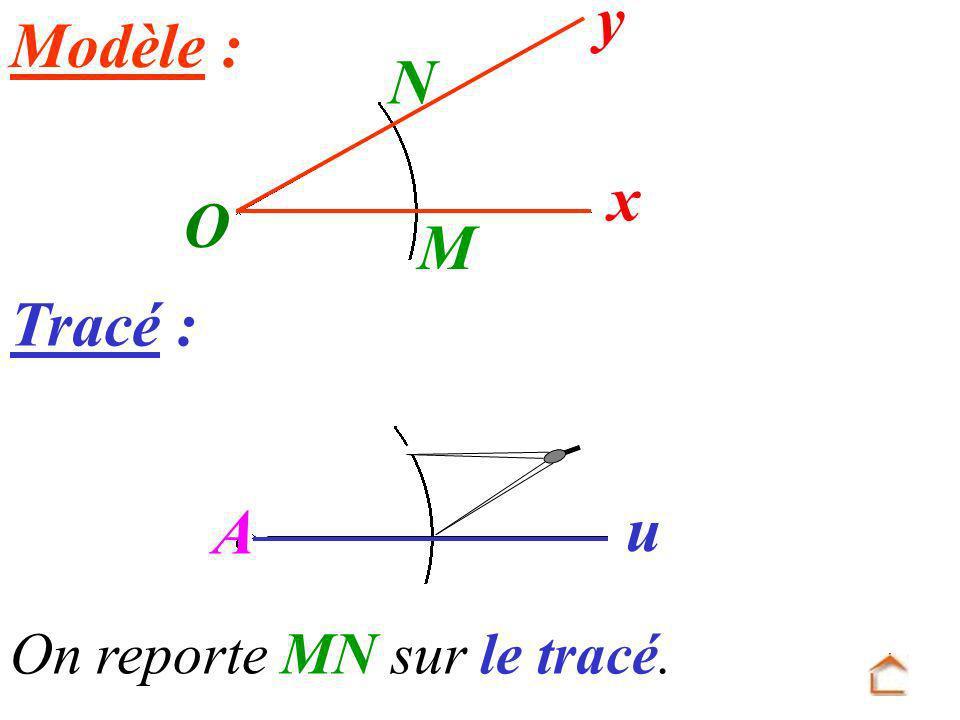 O x y Modèle : N M Tracé : A u On reporte MN sur le tracé.
