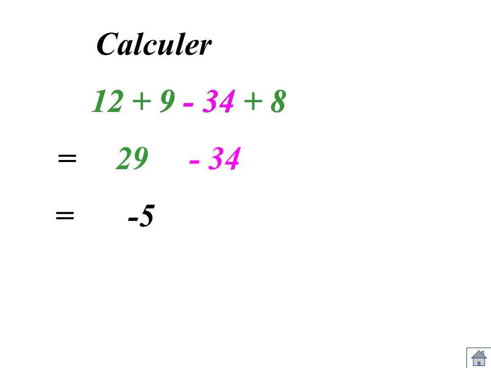 Calculer 12 + 9 - 34 + 8 12 + 9 - 34 + 8 = 29 - 34 = -5