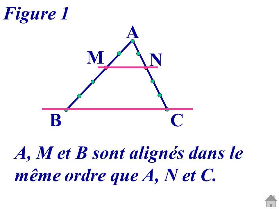 Figure 1 A M N B C A, M et B sont alignés dans le même ordre que A, N et C.