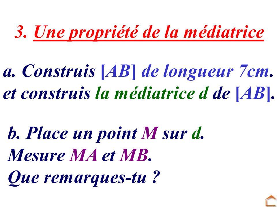 3. Une propriété de la médiatrice