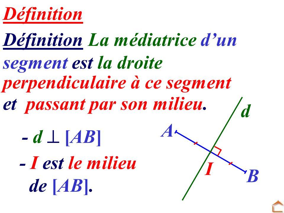 Définition La médiatrice d'un segment est la droite
