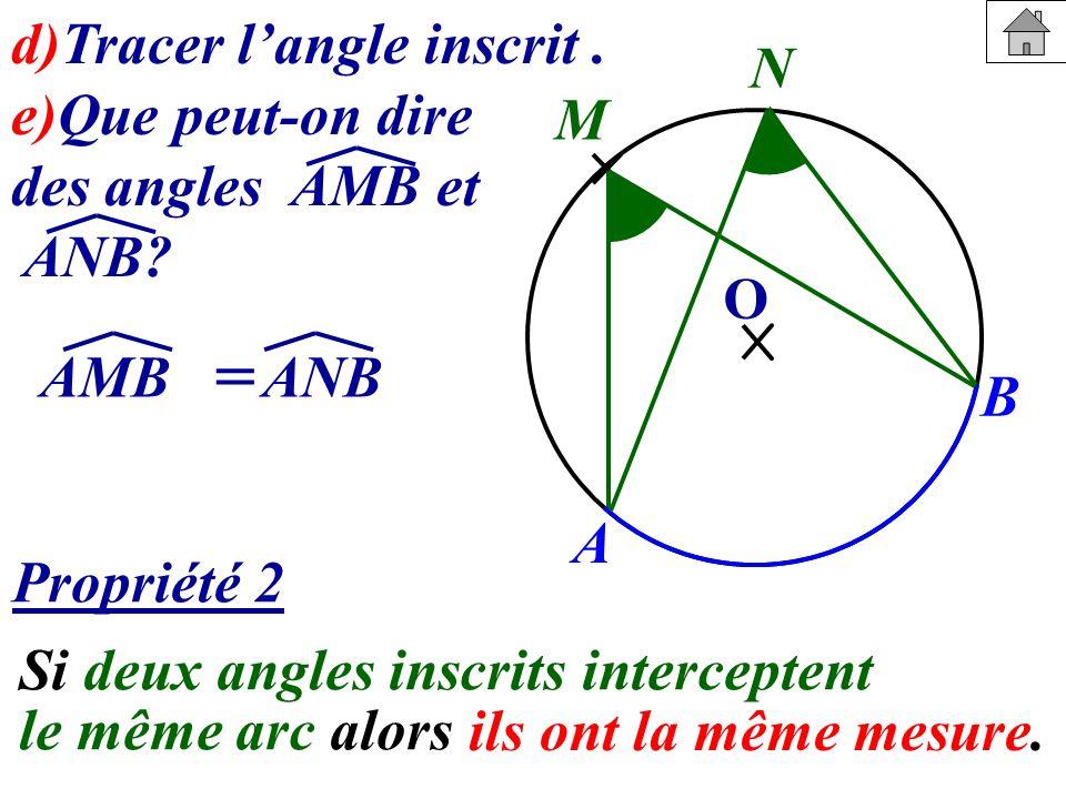 = d)Tracer l'angle inscrit . e)Que peut-on dire des angles AMB et ANB