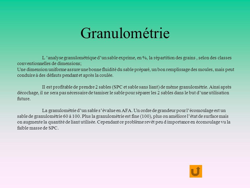 Granulométrie L 'analyse granulométrique d'un sable exprime, en %, la répartition des grains , selon des classes.