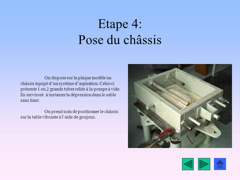 Etape 4: Pose du châssis On dispose sur la plaque modèle un