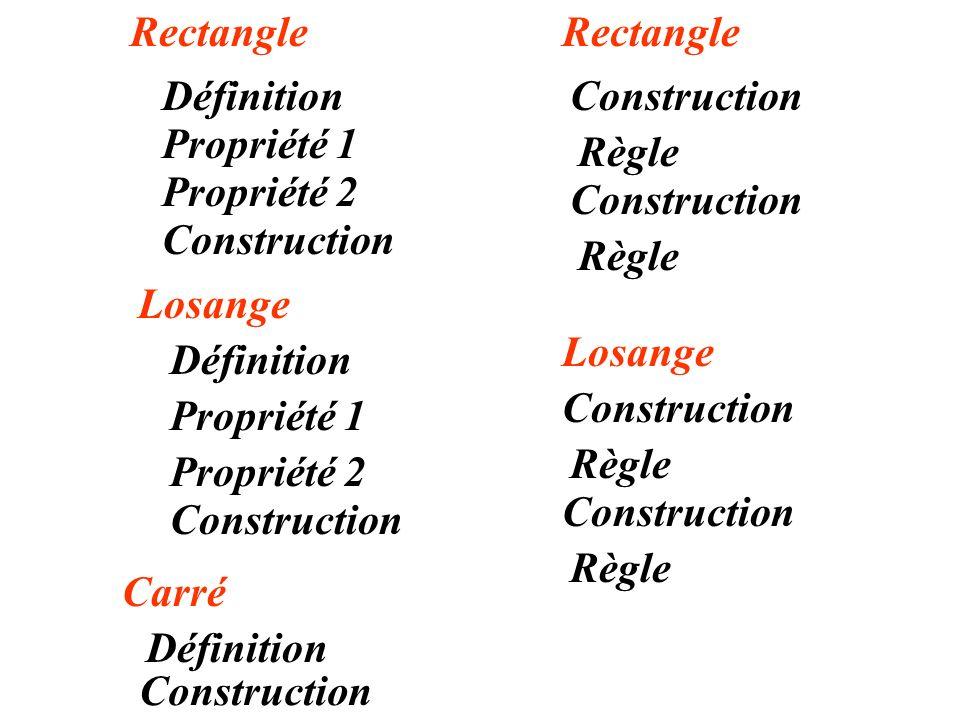 Rectangle Rectangle. Définition. Construction. Propriété 1. Règle. Propriété 2. Construction.