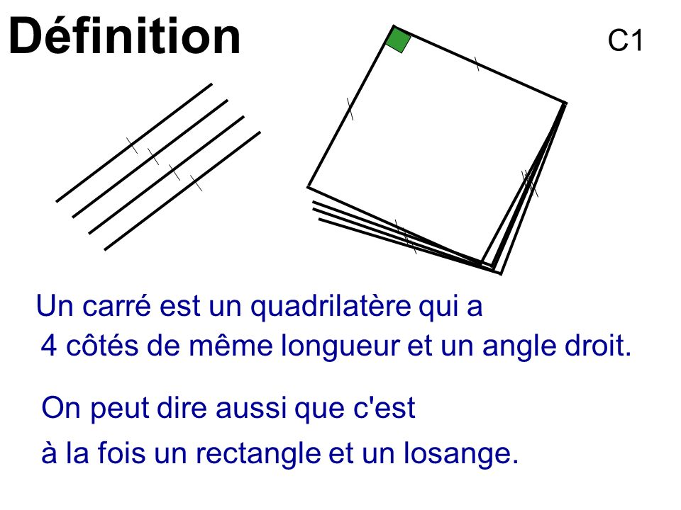 Définition C1 Un carré est un quadrilatère qui a