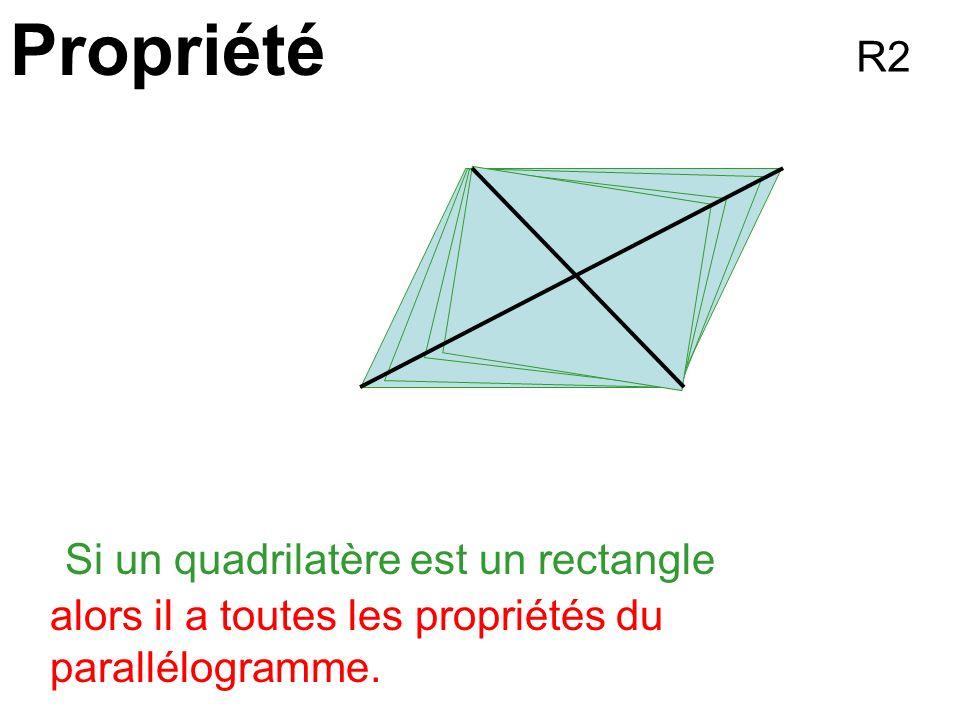 Propriété R2 Si un quadrilatère est un rectangle