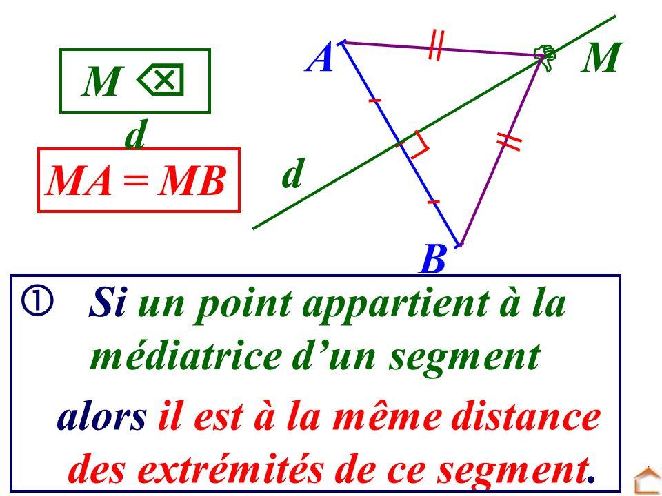 A  M. M  d. d. MA = MB. B.  Si un point appartient à la. médiatrice d'un segment. alors il est à la même distance.