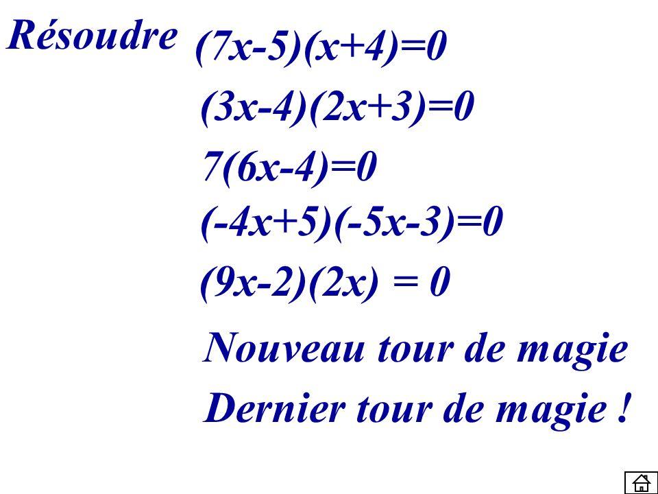 Résoudre(7x-5)(x+4)=0. (3x-4)(2x+3)=0. 7(6x-4)=0. (-4x+5)(-5x-3)=0. (9x-2)(2x) = 0. Nouveau tour de magie.